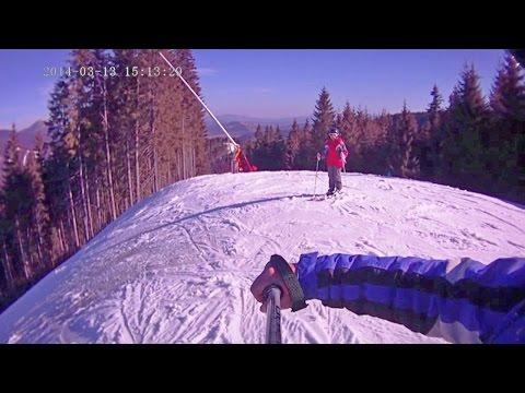 Горные лыжи. Буковель - черная трасса 11В. Skiing resort of Ukraine
