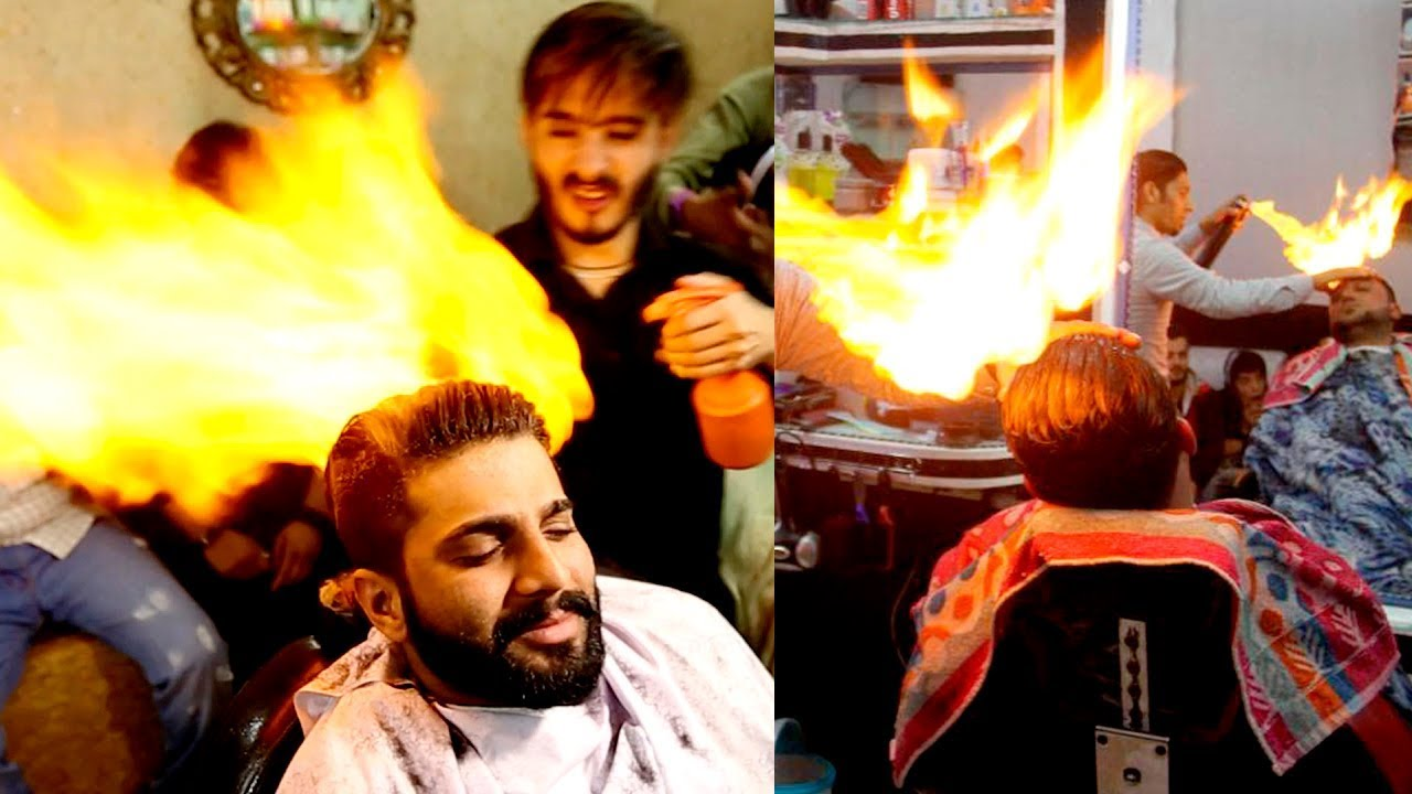 Fire Haircut Barbers Cut Hair With Fire Youtube