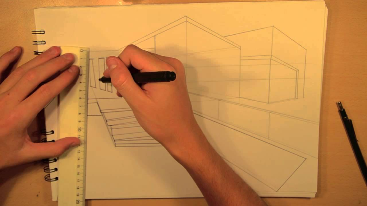 Architectural Drawings Of Modern Houses architecture | design #4: drawing a modern house - youtube