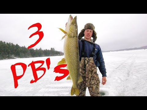NORTHERN PIKE ICE FISHING IN MAINE WITH 3 PB's On SABATTUS LAKE
