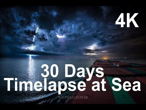 30 Days Timelapse at Sea  4K  Through Thunderstorms, Torrential Rain & Busy Traffic