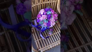 Свадебный букет в сиренево-фиолетовых цветах.