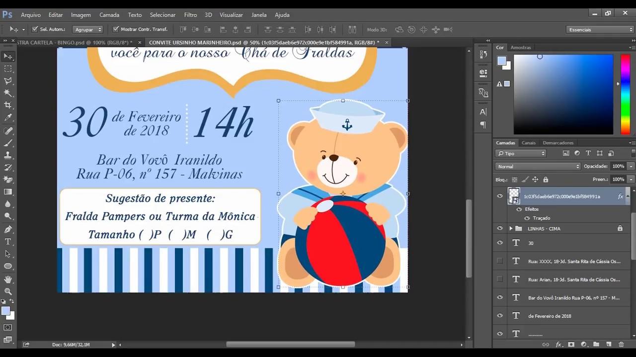 Convite Ursinho Marinheiro Chá De Fraldas Psd Editável Photoshop