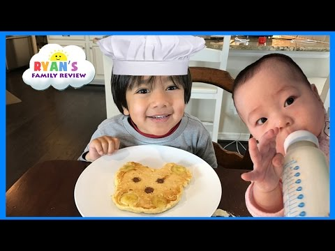 Kid Fun Size Breakfast food! Making Pancakes in fun shapes for kids with Ryan's Family Review event
