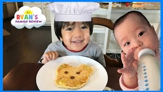 Kid Fun Size Breakfast food! Making Pancakes in fun shapes for kids with Ryan