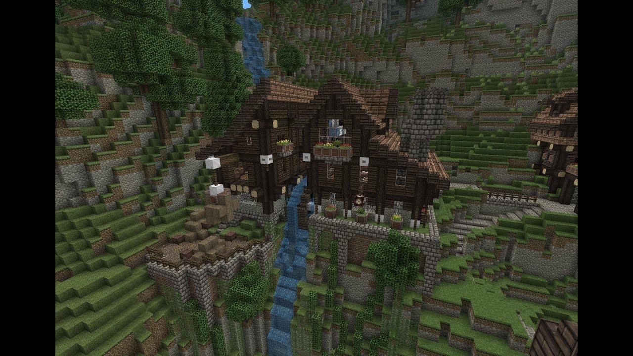 Minecraft medieval watermill