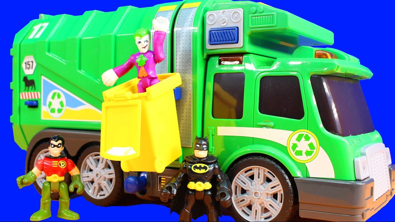 Fast Lane Action Wheels Garbage Dump Truck With Imaginext Batman & Robin  Taking Out Joker Trash