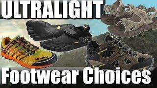 Ultralight backpacking footwear: trail-runners, sandals, vibram five fingers