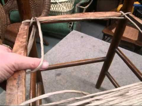 Rope Bottom Chair Mid Century Upholstered Dining Chairs How To Weave Rush Style Seat Using Paper Cord Youtube