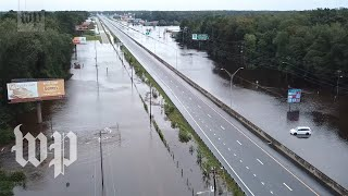 N.C. streets submerged in floodwater, seen from above