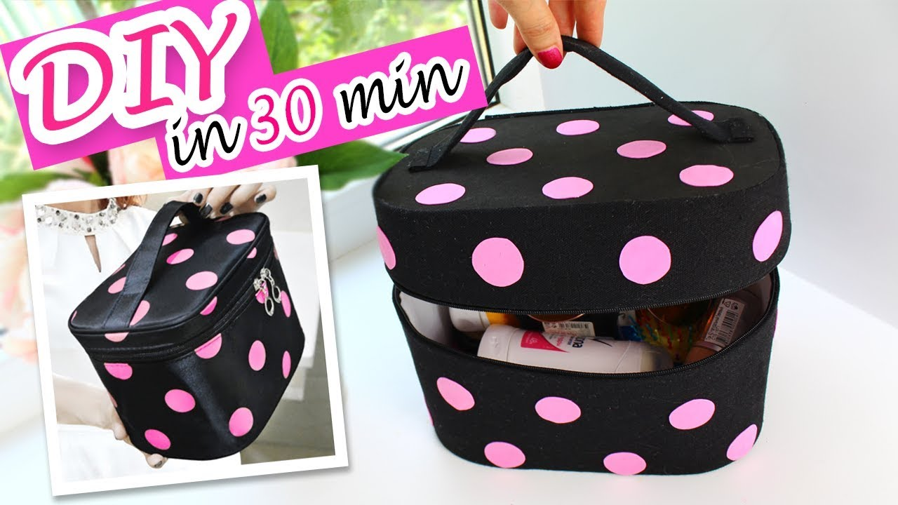 cecf33a40a AWESOME DIY ZIPPER DOTS COSMETIC BAG ORGANIZER NO SEW IN 30 MIN TUTORIAL