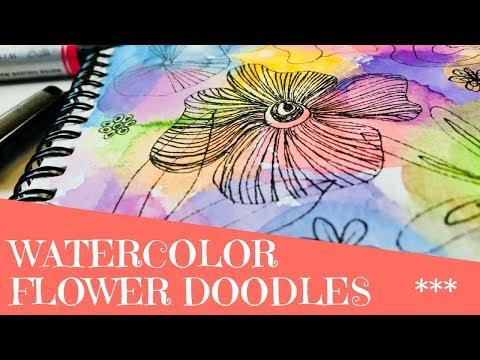 Easy Watercolor Flower Doodles - Watercolor Marker Art