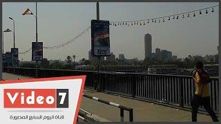 بالفيديو..تزيين كوبرى 6 أكتوبر للاحتفال بافتتاح قناة السويس الجديدة