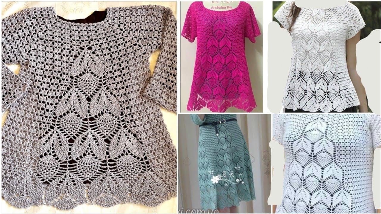 3659e333f كروشيه بلوزة أوراق الأناناس / فستان / تنورة / سهله وخطوة بخطوة للمبتدئين/  الجزء 1 Crochet blouse