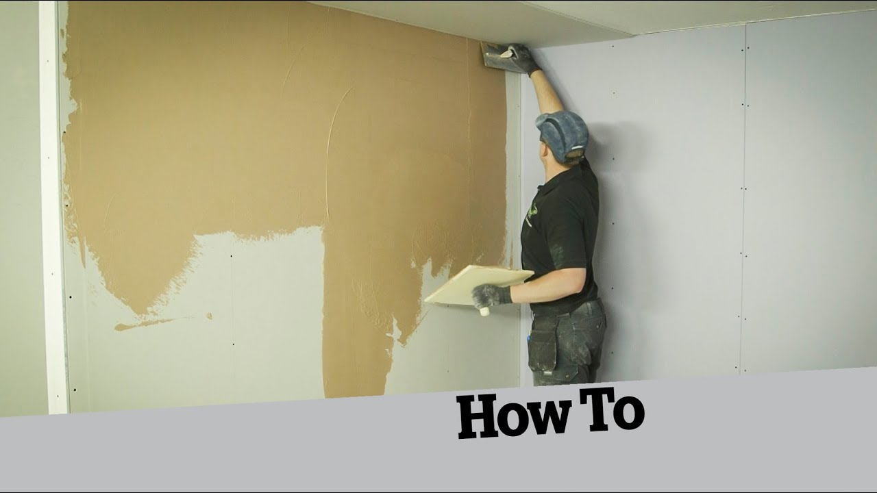 how to skim a plasterboard wall youtube. Black Bedroom Furniture Sets. Home Design Ideas