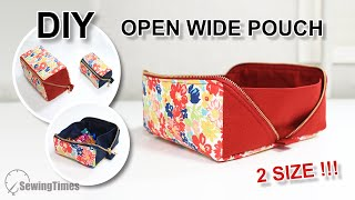 DIY OPEN WIDE POUCH - 2 SIZE | How to make a tray pouch with a wide bottom [sewingtimes]
