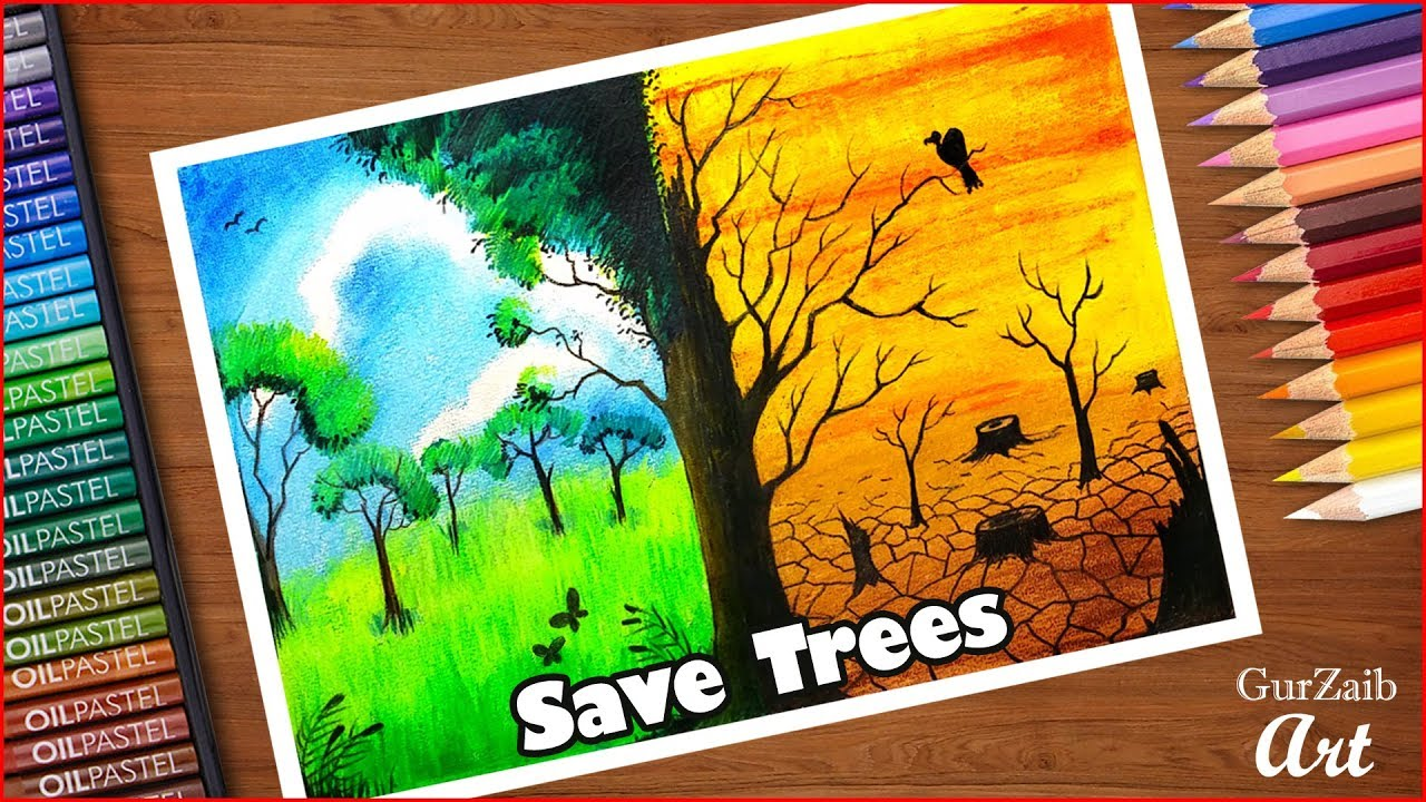 How to draw save trees poster chart drawing for ...