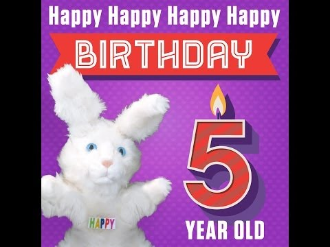 """Hoppa The Happy Bunny """"Happy Happy Happy Happy Birthday (5 Years Old)"""""""