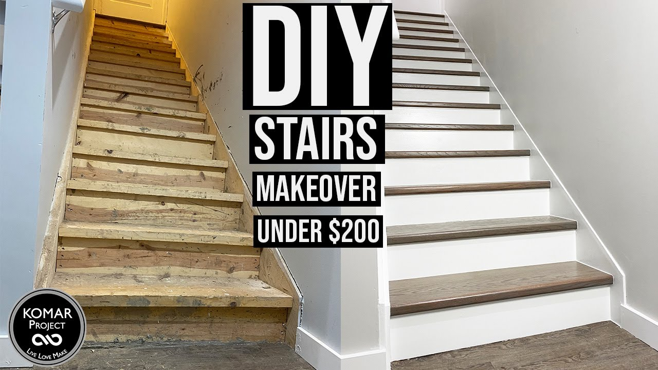 Diy Stairs Makeover For Under 200 With Full Cost Breakdown | Cost To Build Stairs To Basement | Spiral Staircase | Deck | Risers | Doors | Stair Treads