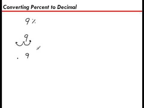Converting A Percent To A Decimal 9