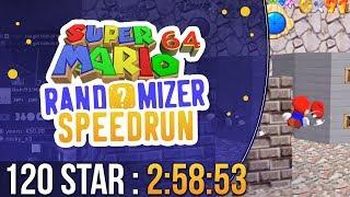 Super Mario 64 Randomizer 120 Star Speedrun in 2:58:53 (Random Seed) World Record