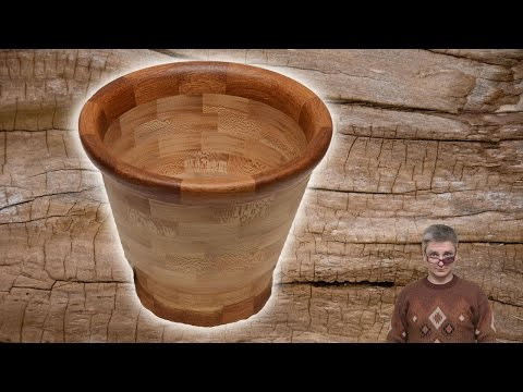 Segmented woodturning vase from oak and sycamore