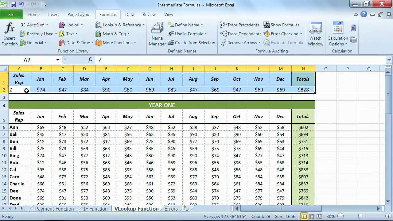 microsoft excel 2010 tutorial  using the vlookup functions