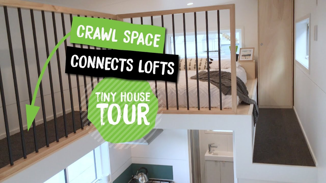 Tiny house with crawl space to connect lofts  Dance Tiny house  NZ