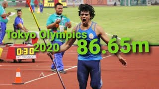 #Neeraj_chopra monsters throw 86.65m,Tokyo Olympics javelin throw/Neeraj chopra tokyo qualify throw.