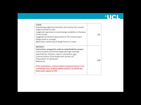 UCL Integrated Design Project: Guide to Marking with Bryan Cahill