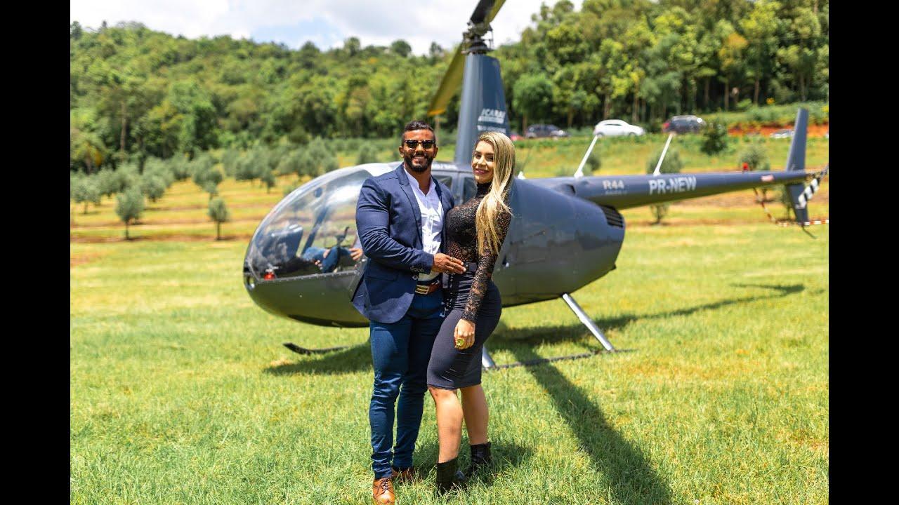 Pedido de Casamento em Gramado - chegada de Helicóptero