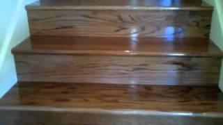Carpet Stairs to Stained Oak Stairs