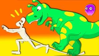Groovy Марсианин превращается в динозавра, чтобы напугать мумию в музее.