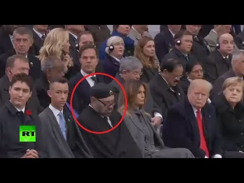 Moroccan king power naps during Macron's WWI centenary speech