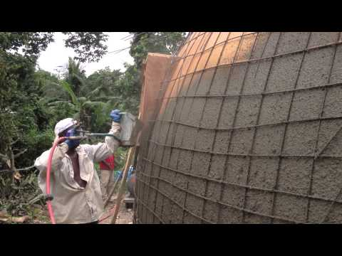 Monolithic Dome Construction with a Stucco Sprayer  Hildebrand Construction in Haiti