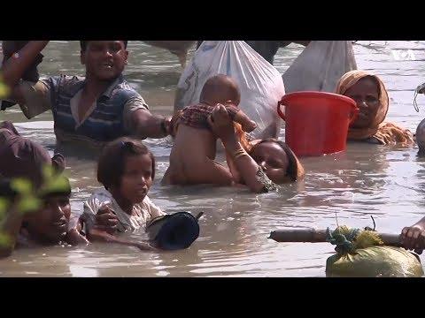 Rohingya refugees cross river to reach Bangladesh