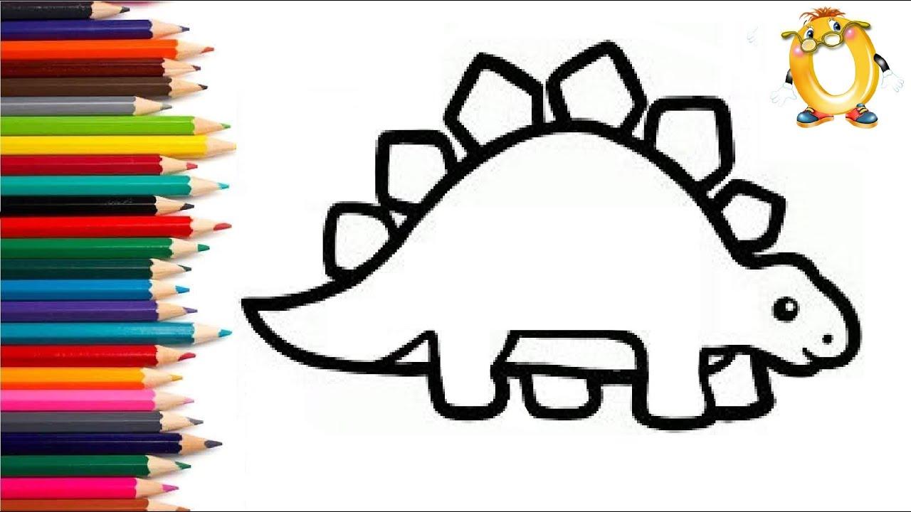 Раскраска для детей ДИНОЗАВР. Мультик - Раскраска. Учим ...