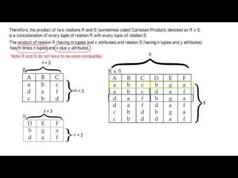 Relational Algebra  - Product