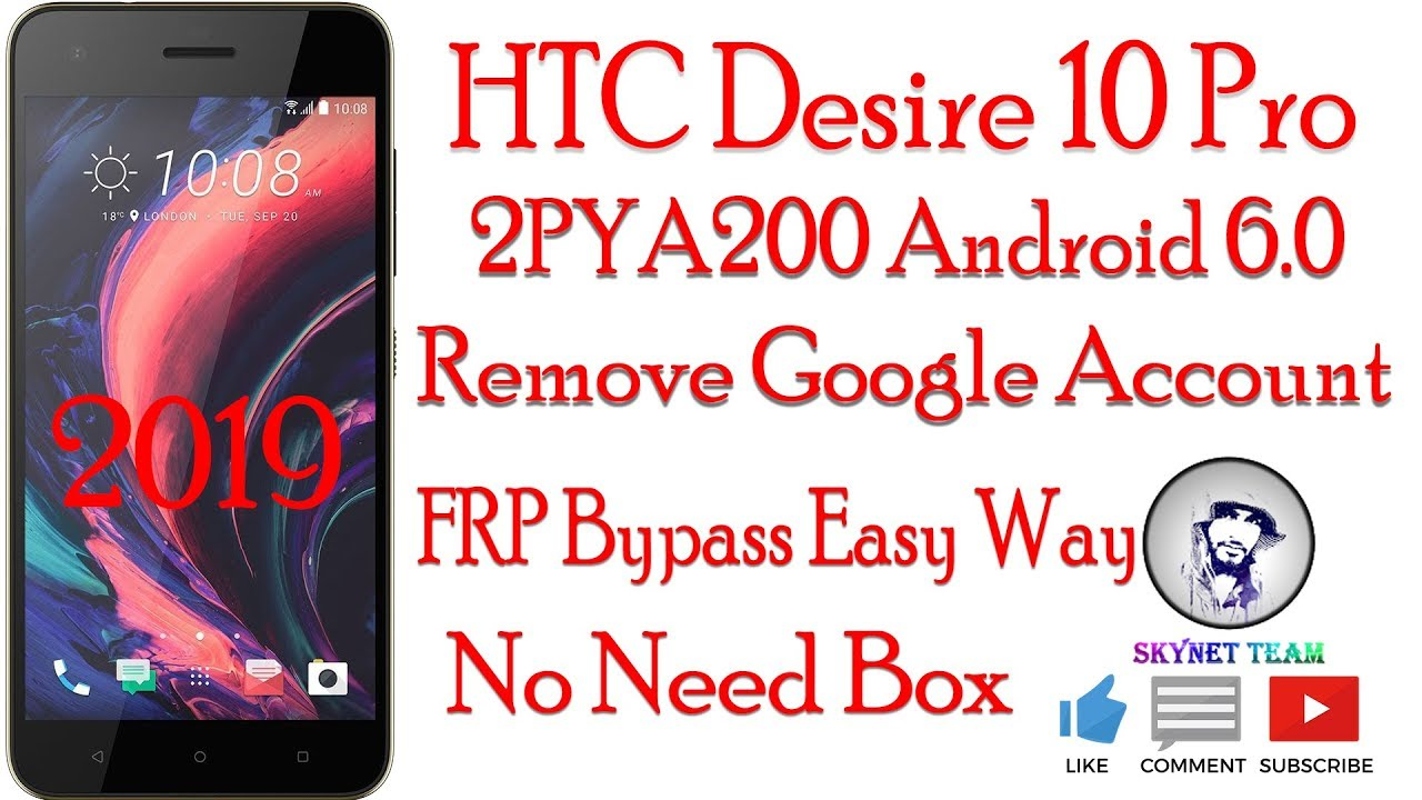 HTC Desire 10 Pro 2PYA200 Android 6 0 Remove Google Account  FRP Bypass Easy Way