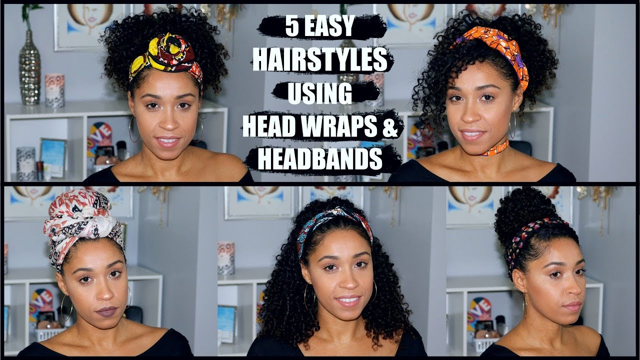 Easy Head Wrap Headband Hairstyles For Curly Hair Youtube