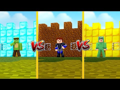 CASTLE VS CASTLE - DIAMOND VS DIRT VS GOLD - Minecraft CASTLE VS CASTLE w/ Little Lizard
