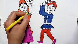 How to draw dandiya dance for kids step by step