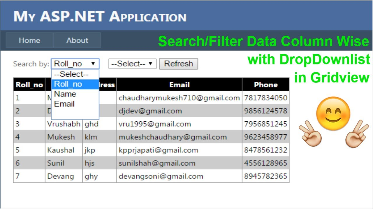 How to search/Filter data in gridview - Part 2 [Asp Net]