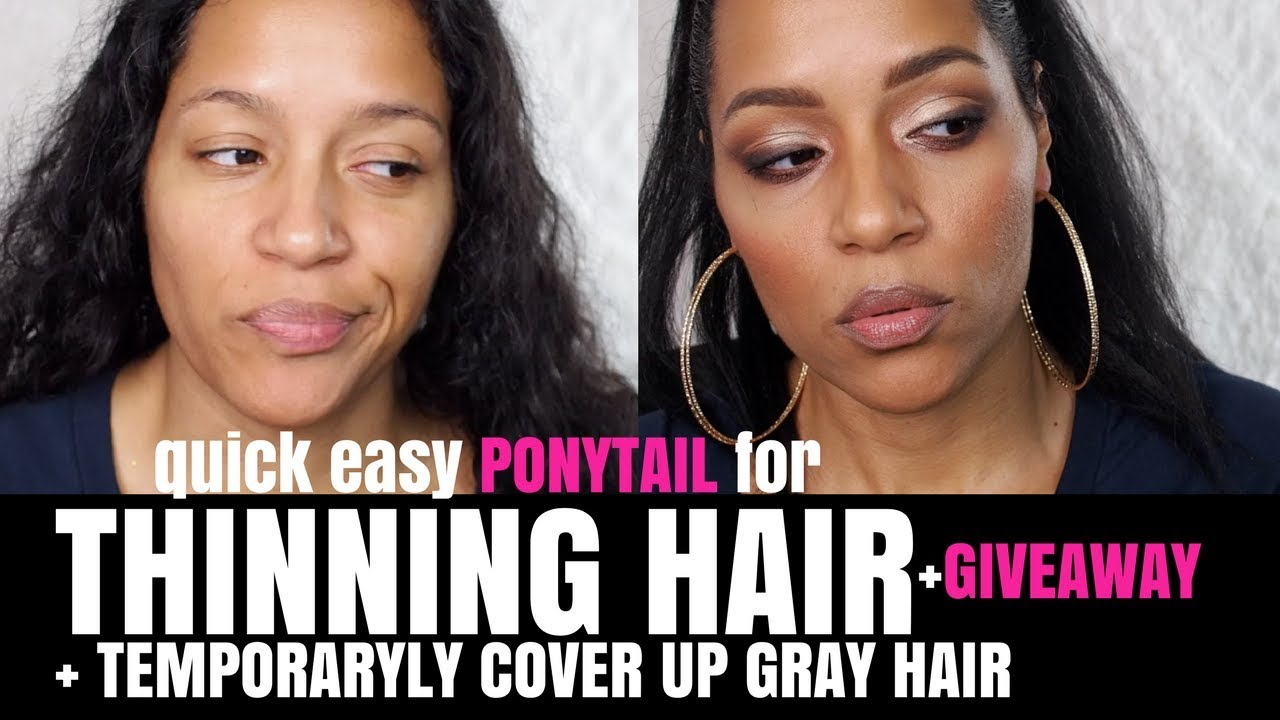 Thinning Hair Quick Ponytail Style Cover Grey Hair Without Dye