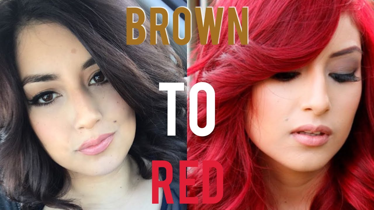 From Brown Hair To Bright Red Hair Without Bleach Youtube