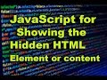 JavaScript for showing hidden HTML Element or Content