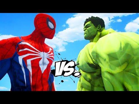 Spider Man VS Green Hulk VS Blue Hulk VS Red Hulk - YouTube