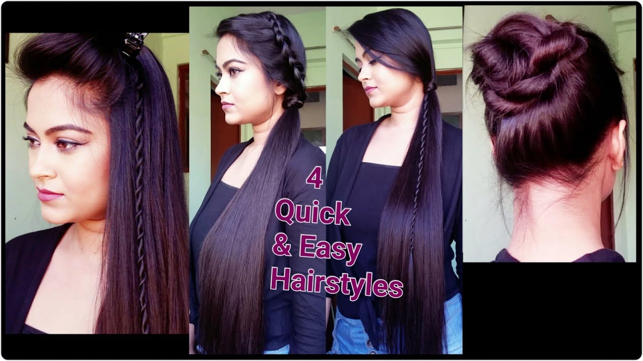 4 quick & easy heatless hairstyles for summer for medium/long hair // indian hairstyles
