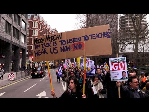 Academies: Teachers and parents march on the Department for Education