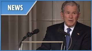 George W Bush delivers an emotional eulogy to his father at the state funeral
